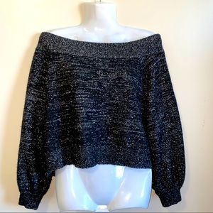 Sparkly Grey off shoulder pullover sweater